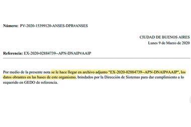 El área técnica de la Anses envió una respuesta con los datos solicitados adjuntos en un expediente dentro del trámite