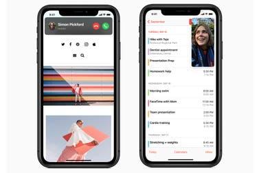 A la izquierda, el nuevo botón para las llamadas, a la derecha, una videollamada en una ventana flotante mientras se usa otra app