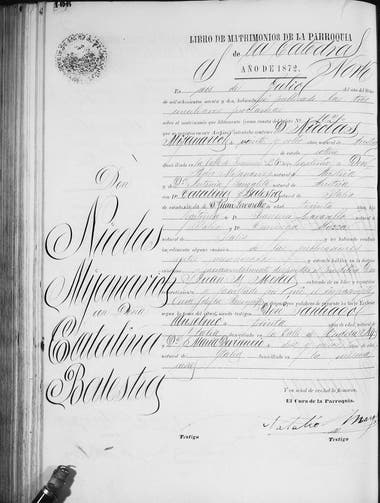 Acta de Matrimonio de Nicolás Mihanovich con Catalina Balestra, en 1872: él era cinco años menor que ella, pero declaraba ser mayor, probablemente, para acortar esa brecha.