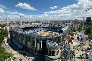 El Estadio Santiago Bernabéu, del Real Madrid, está en remodelaciones