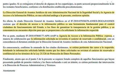 La dirección Previsional de la Anses, bajo la gestión de Alejandro Vanoli, hizo lugar al pedido que realizó LA NACION en enero y respaldó su decisión en un pedido similar del 2018