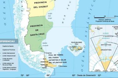 Así se veía en los mapas tradicionales la provincia de Tierra del Fuego, Antártida e Islas del Atlántico Sur