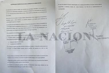 Document showing investigators that Diego Maradona did not receive medical discharge from the Olivos Clinic
