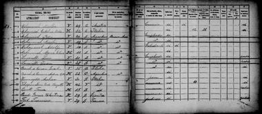 Mihanovich en el censo de 1895, un año antes de quedar viudo. Aparecen en el mismo hogar dos de sus hijastros Lavarello, y su yerno Emilio Bianchi de Cárcano, casado con su hija Antonieta. Él también trabajaba en la naviera.