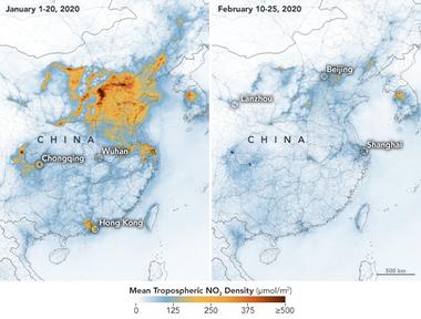 El antes y el después de la contaminación sobre China