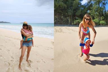 Marcela disfruta con sus hijos de las playas de Hawaii