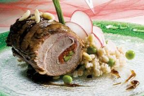 Espiral de lomo y risotto de cebada perlada