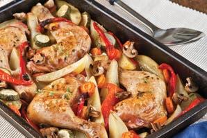 Pollo asado con hortalizas