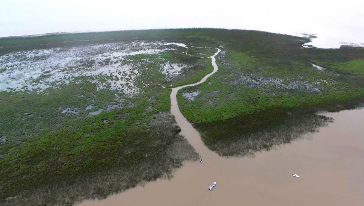 Una de las islas se puede atravesar en lancha por un canal natural