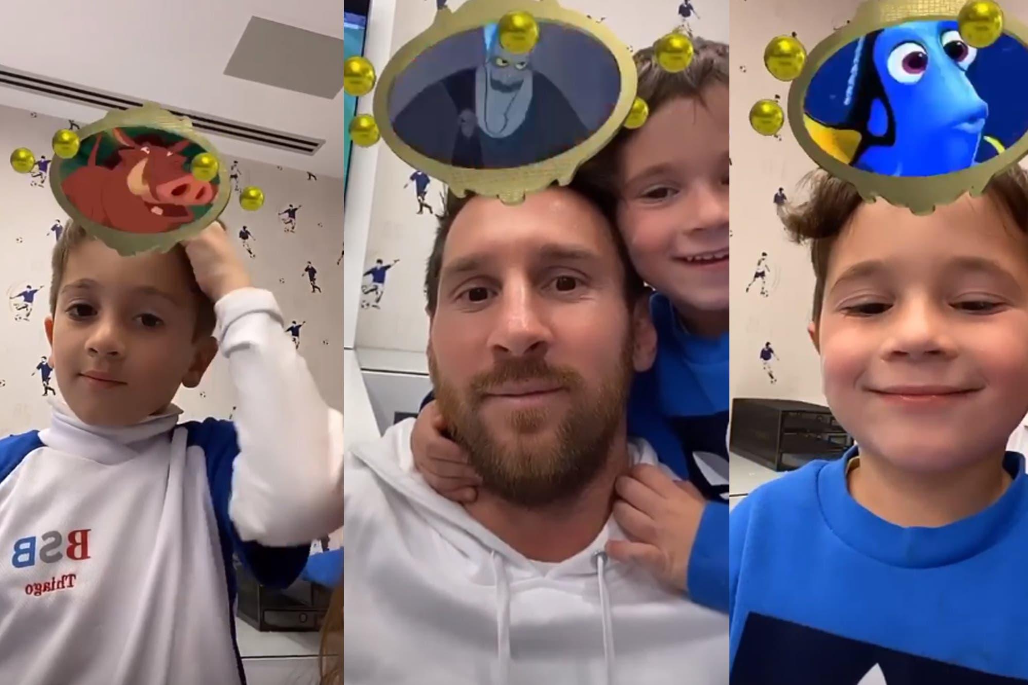 Lio príncipe y Mateo indignado: los Messi jugaron con el filtro de Disney
