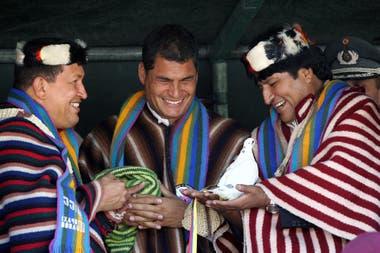 Hugo Chávez, Rafael Correa y Evo Morales, en enero de 2007