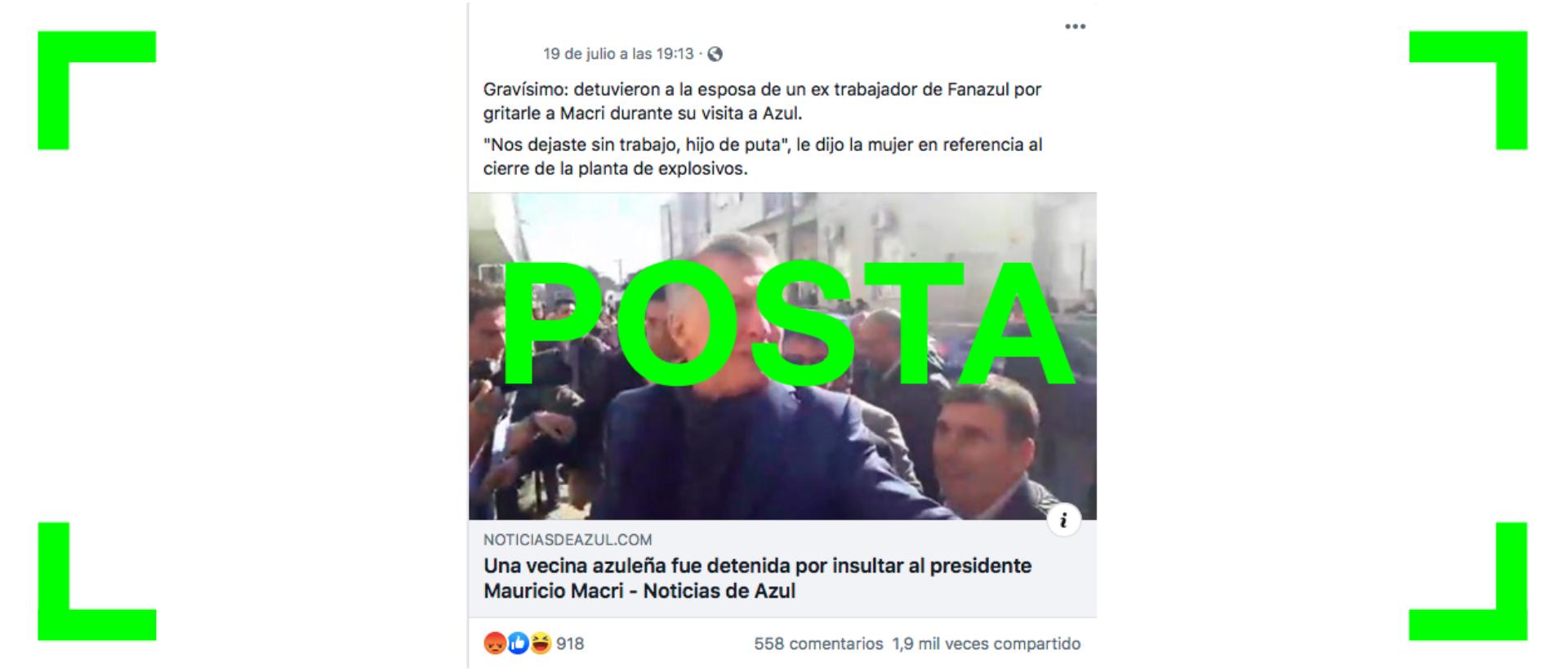 Es verdadero que una mujer fue detenida en Azul por insultar a Mauricio Macri