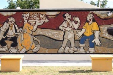 Murales y esculturas en Comandante Luis Piedrabuena en honor a Patoruzú