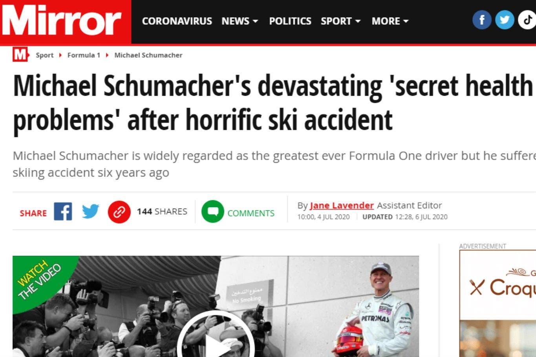 """Michael Schumacher: el duro análisis de la prensa inglesa sobre los devastadores """"problemas secretos de salud"""" del ex piloto"""
