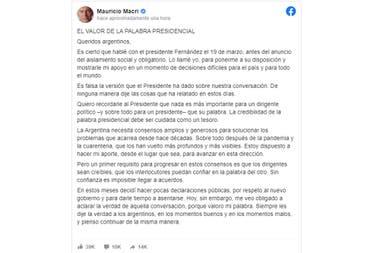 Mauricio Macri y una carta abierta para desmentir los dichos de Alberto Fernández