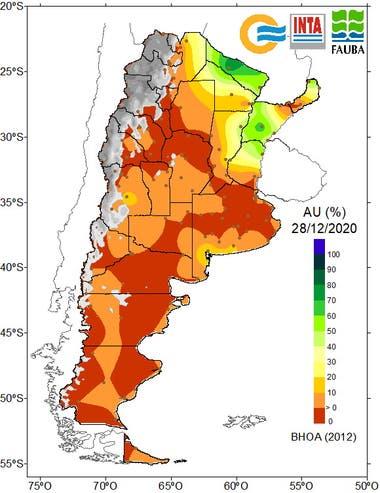 El mapa muestra la escasa a nula agua útil en el perfil de los suelos a nivel país