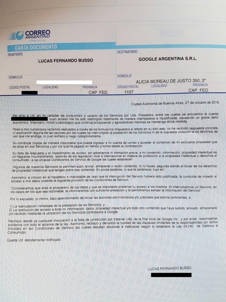 La carta documento que Busso le envió a Google previa a la demanda