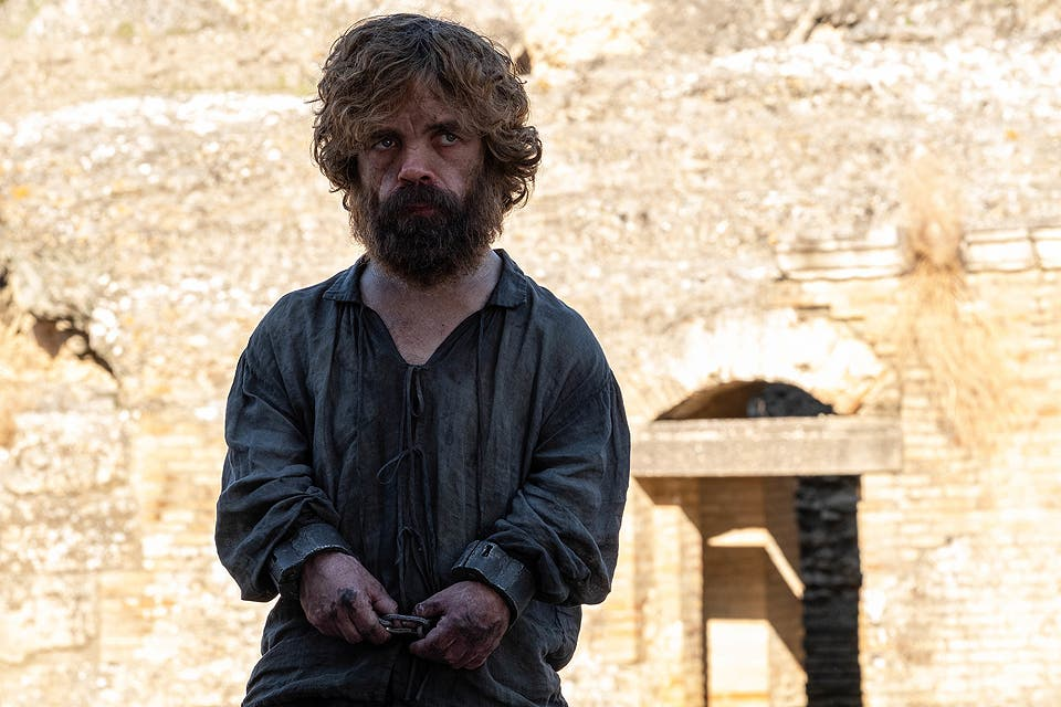Peter Dinklage como Tyrion Lannister en el último episodio de Game of Thrones