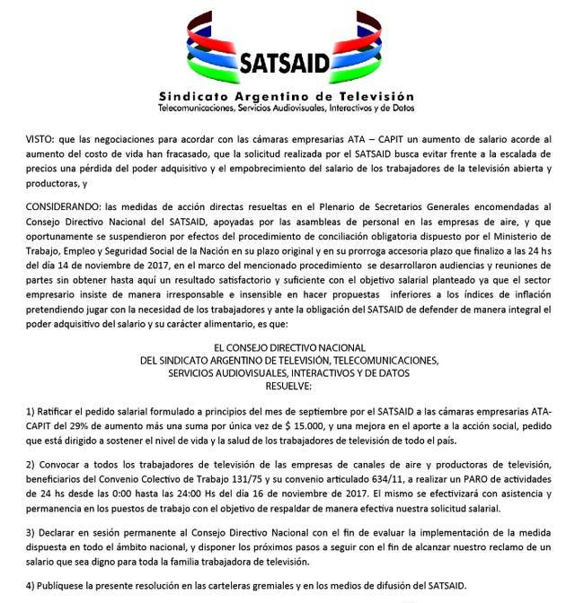 El comunicado de SATSAID