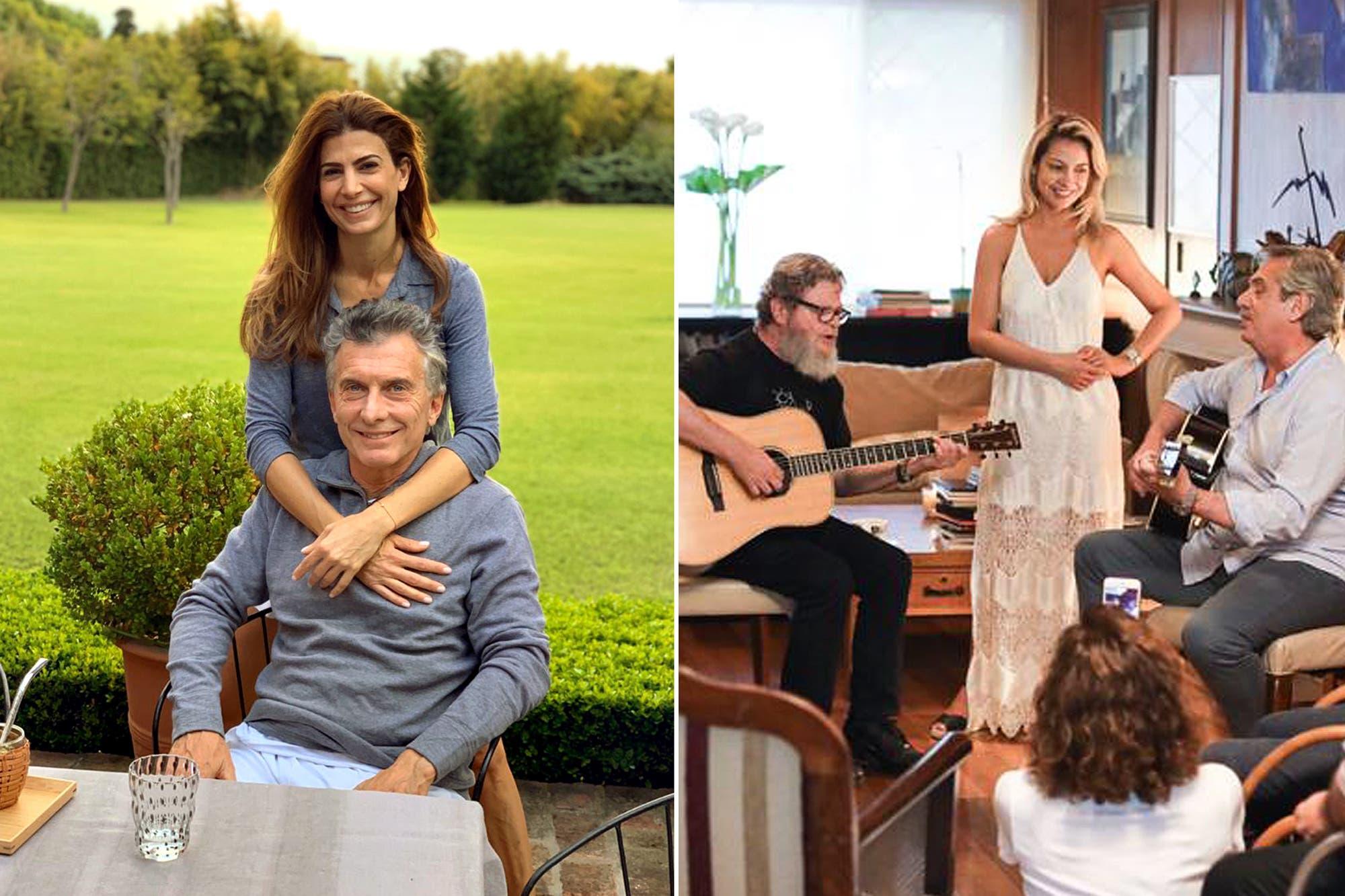 Mauricio Macri jugó al paddle con amigos y Alberto Fernández cantó con Santaolalla ante de las elecciones
