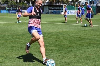 Lisandro López, en el entrenamiento de este martes.