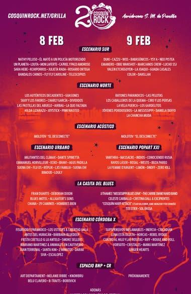 La grilla del festival