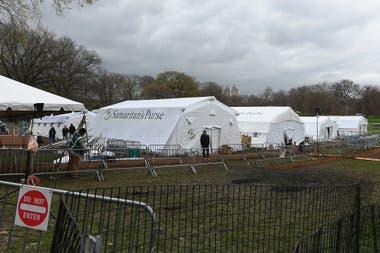 El hospital de campaña, en el Central Park