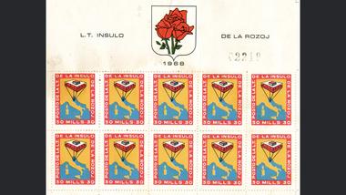 Giorgio Rosa también creó sellos de correos para la Isla de las Rosas