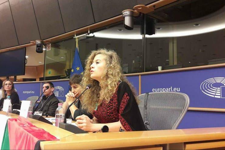 Tamimi frente al Parlamento Europeo