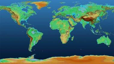 El mapa muestra variaciones de altura en la superficie terrestre a lo largo de más de 148 millones de km cuadrados