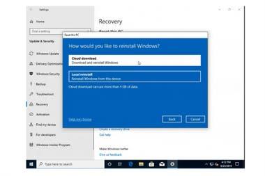 Así se ve la nueva opción que sumará Windows 10 para reinstalar el sistema operativo sin necesidad de tener una copia local
