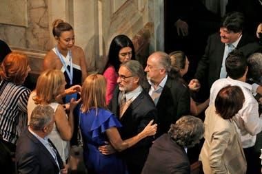 Hugo Yasky y Carlos Zannini al llegar al Senado