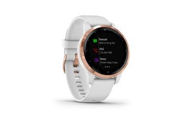 Inteligente y deportista. El Garmín VivoActive 4 ofrece funciones que monitorean el entrenamiento y varios indicadores vitales. Incluye aplicaciones para hacer deportes en interiores y su batería cuenta con una autonomía de hasta 7 días en modo reloj inteligente ($44.999).
