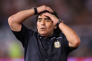 En el estadio de River, frente a Venezuela en 2009, también dirigiendo a la selección, por las Eliminatorias