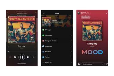 Así se ven los contenidos de Spotify compartidos en Instagram Stories