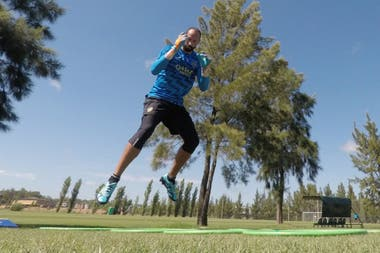 Marcos Díaz y su primer entrenamiento en Boca