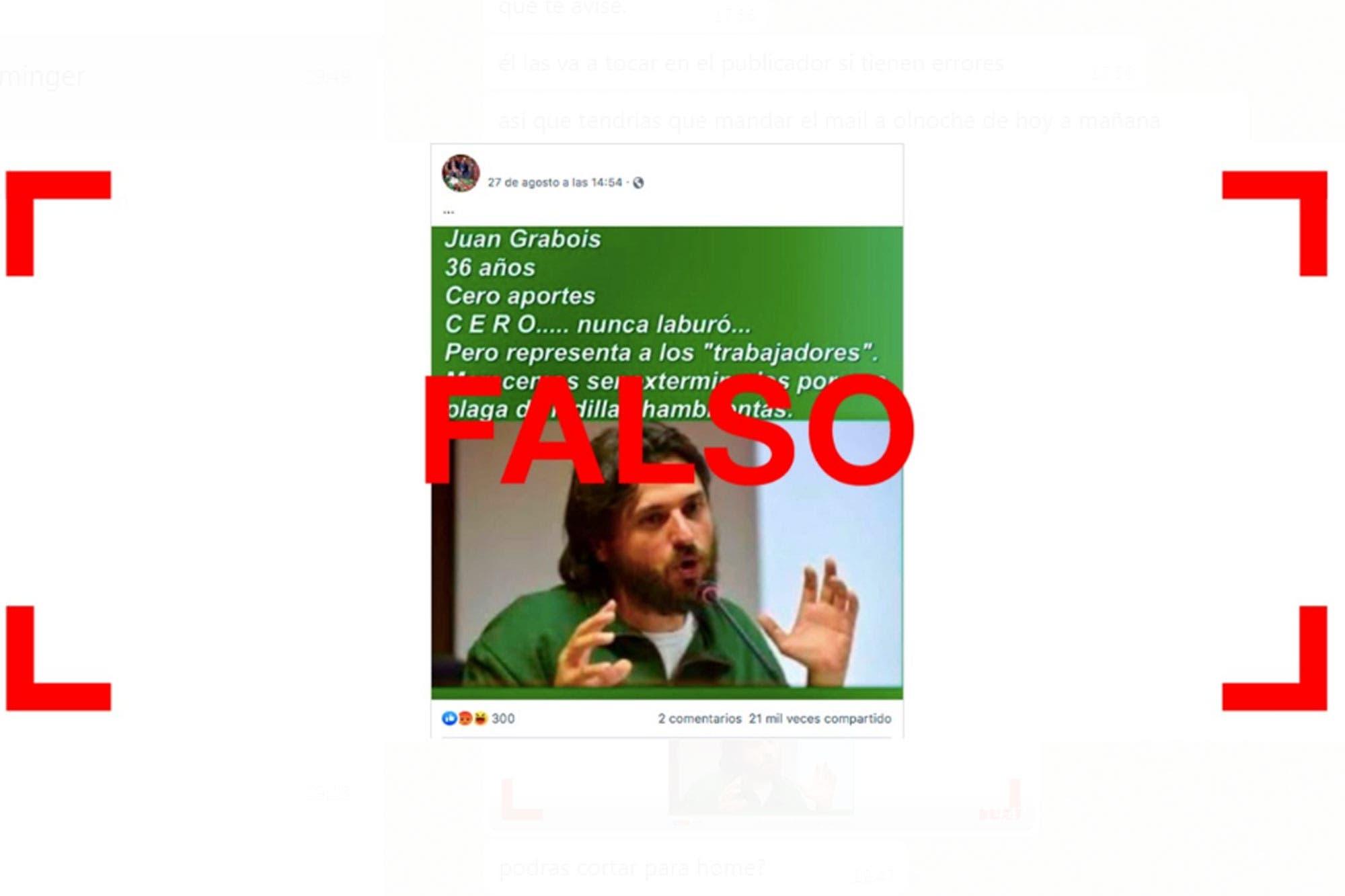"""Es falso que Juan Grabois tiene """"cero aportes"""" y """"nunca laburó"""""""