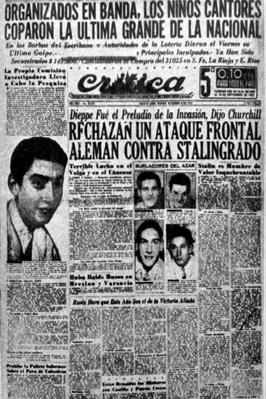 La primera plana de Crítica del 8 de septiembre , donde los niños cantores disputan columnas con la batalla de Stalingrado