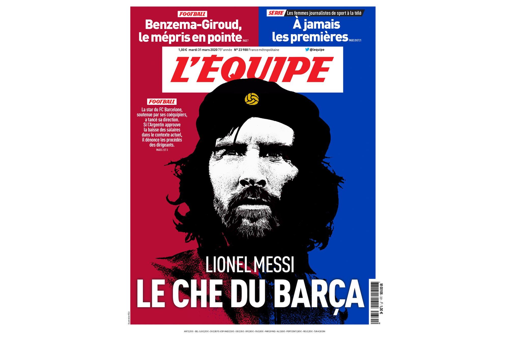"""""""El Che Messi"""": la portada que el diario francés L'Equipe le dedica al astro rosarino"""