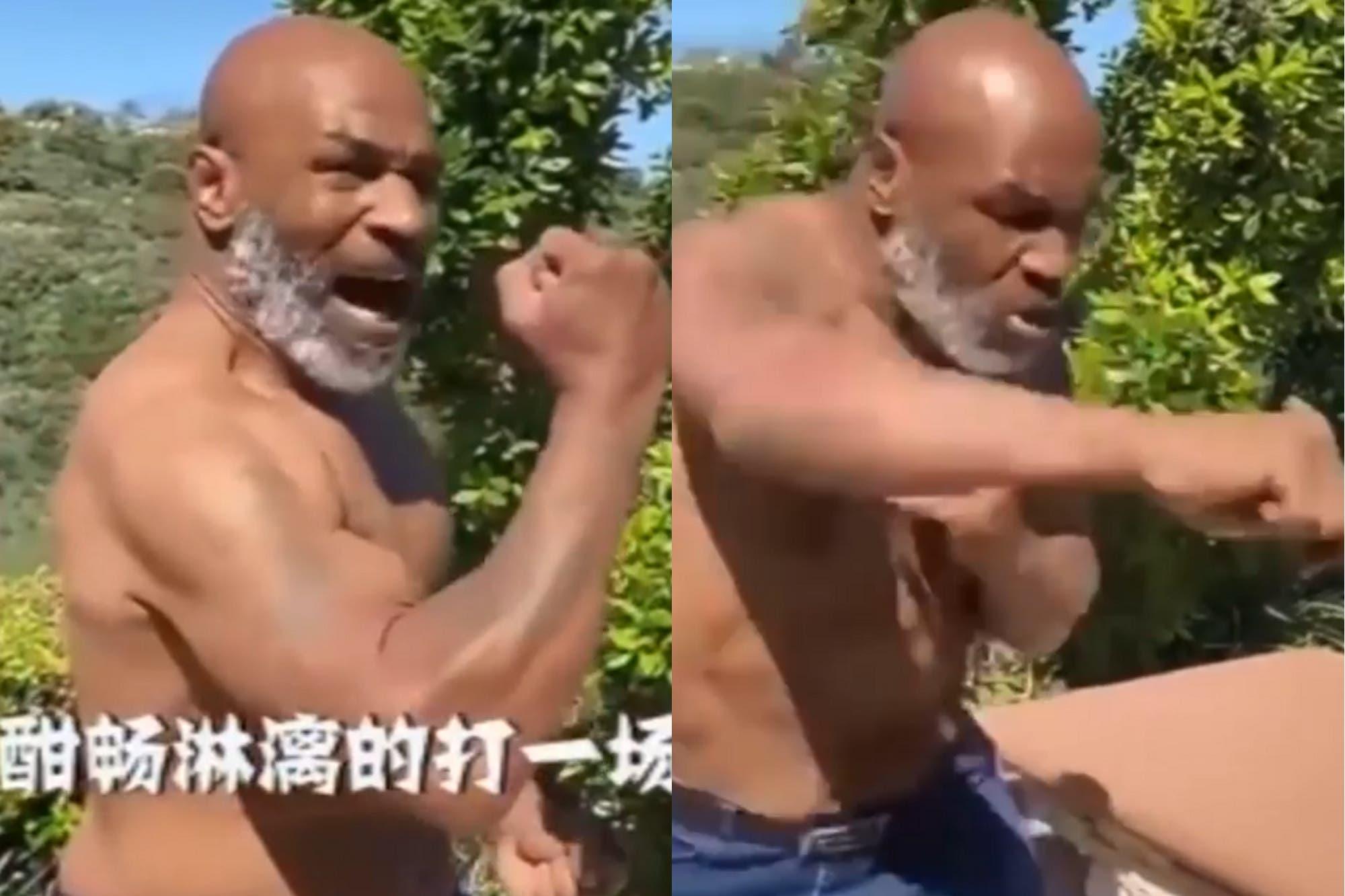 """""""En cueros"""": Mike Tyson desembarcó en Weibo, la red social china, mostrando su brutal poder de fuego"""